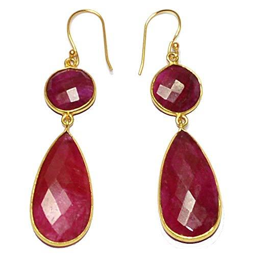 (Nathis Dyed Ruby Fancy Shape Plated Bezel Dangle & Drop Earring For Women)