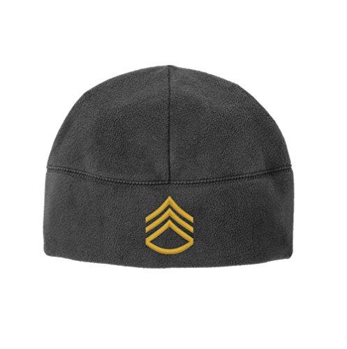 Army E-6 Staff Sergeant Rank Veteran Embroidered Beanie Watch Cap (Grey) (Usa Army Watch)