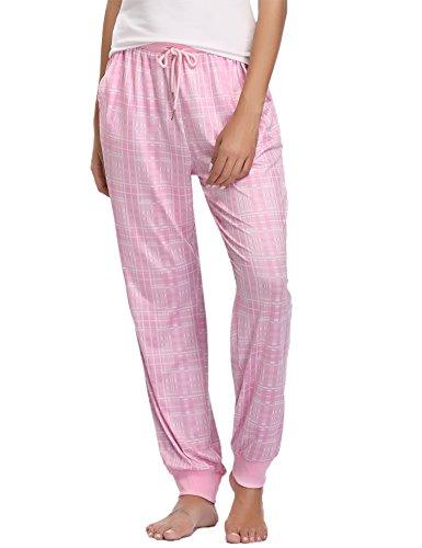 (Hawiton Women's Stretch Milk Silk Sleep Lounge Bottoms Plaid Ribbed Drawstring PJ Pants Pink)