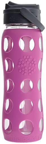 Lifefactory Glass Bottle with Straw Cap and Silicone Sleeve, 22-Ounce, Huckleberry by Lifefactory ()