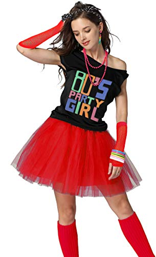 Xianhan 1980s Outfit 80's Party Girl Retro Costume Accessories Outfit Dress for 1980s Theme Party Supplies (L/XL, ()