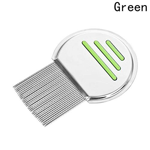 Pet Hair Comb Brushes Lice Terminator Nit Fine Dust Removal Stainless Steel 1pcs (Color - Green)