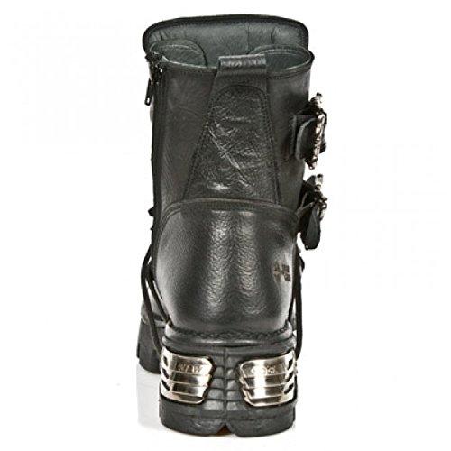 NEWROCK New Rock 1033-S1 Chaussures en cuir de buffle-Noir-Croix-Argent-T réacteur bottes