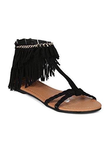 Women Faux Suede Open Toe T-Strap Chained Fringe Flat Sandal - HK68 Qupid - Black Faux Suede (Size: 10) - Fringe T-strap Sandals
