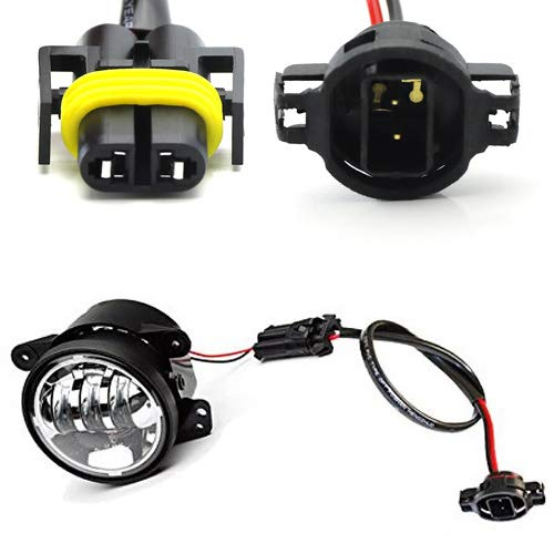 iJDMTOY (2) LED Fog Lamps Conversion Adapter Wires For 2010 and up Jeep Wrangler JK (Good For JW Speaker 6045 6145 or Truck-Lite 80275) iJDMTOY Auto Accessories For Repair Custom Retrofit