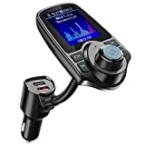 Nulaxy KM18 [Upgraded Version] Bluetooth FM Transmitter for Car, 1.8' Color Screen Radio Adapter W QC3.0 & 5V/2.4A Charging, Handsfree Call, Support microSD Card, Aux Play, EQ Modes