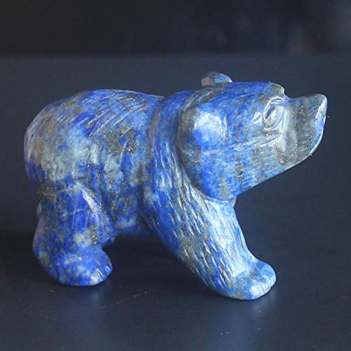 2'' Hand Carved Mixed gemstom Bear Figurine Animal Carving (Natural Lapis)