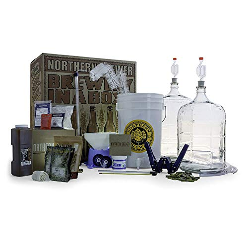 (Northern Brewer Deluxe Home Brewing Equipment Starter Kit - Caribou Slobber Brown Ale Beer Recipe Kit Glass Carboys - Glass Carboys Fermenter with Equipment For Making 5 Gallons Of Homemade Beer)