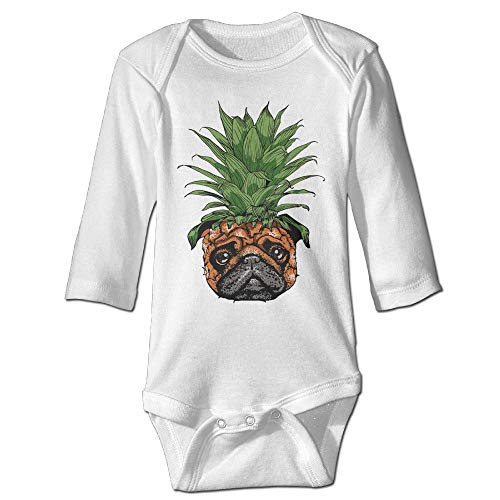 TENGBOKY Funny Baby Onesies Cute Pineapple Pug Puppy Dog Baby Clothes Long Sleeve Onesies -