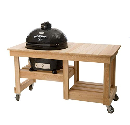Primo Oval XL 400 Ceramic Smoker Grill On Cypress Counter Top Table, Jack Daniel's Edition by Primo