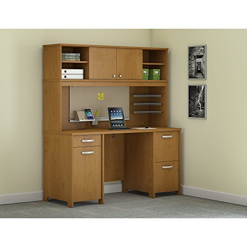 - Bush Furniture Envoy Office Desk with Hutch and 2 Pedestals in Natural Cherry