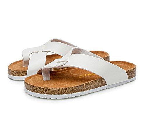 Mujer Verano Plana Chancletas Unisexo Zapatillas Sandalias clip dedo del pie sandalias zapatos de playa Blanco