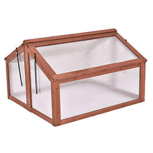 (Giantex Garden Portable Wooden Cold Frame Greenhouse Raised Flower Planter Protection (35.4