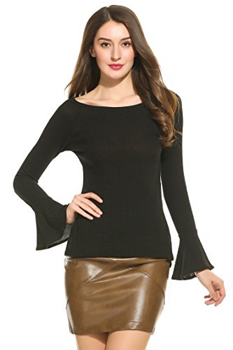 Zeagoo Women's Plus Size Long Bell Sleeve Thin Ribbed Knit Pullover Sweater Top,Black,XX-Large