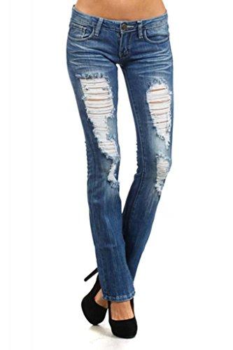 Machine Jeans Distressed Destroyed Denims Medium Wash Boot Cut Jeans Size 9