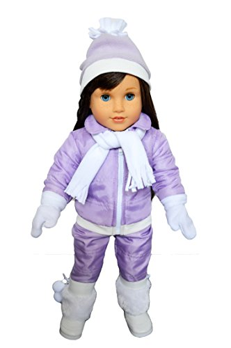 Brittany's My Purple Snowsuit Compatible with American Girl Dolls- 18 inch Doll Clothes-Snow Pants-Jacket-White Shirt-Scarf-Mittens-and Hat (American Girl Skiing)
