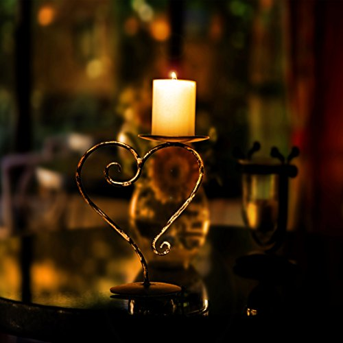 Crafia golden black Heart shape Candle Holder, Coffee Table Decorative Centerpieces, wrought Candle Holders for Home/Holiday Decoration, candle light dinner and for restaurants. by Crafia