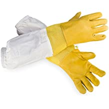 Beecastle Beekeeping Gloves Premium Goatskin Beekeeping Gloves with Ventilated,Sting Proof for Beekeepper(Small)