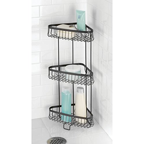 mDesign Three-Tier Freestanding Wire Bathroom Storage Shelf Lotion, Bar Soap, Hand Towels - Matte Black