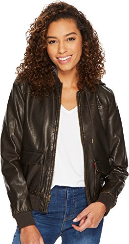 Sherpa Bomber - Levi's Women's Two-Pocket Faux Leather Hooded Bomber Jacket with Sherpa, Dark Brown, Extra Small