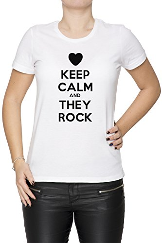 Keep Calm And They Rock Blanc Coton Femme T-shirt Col Ras Du Cou Manches Courtes White Women's T-shirt