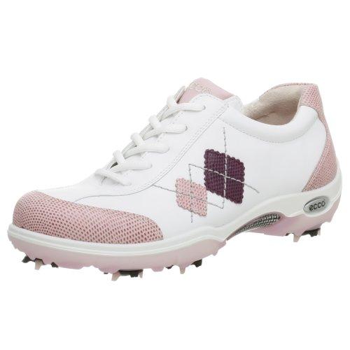 ECCO Women's Casual Pitch Argyle Golf Shoe,Lt Rose/Wt/Pur,40 EU (9-9.5 US) by ECCO