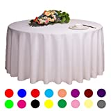 Adasmile Solid Polyester Wedding Restaurant Party Round Tablecloth Tablecovers for Event & Party Supplies (78''/2m, white)