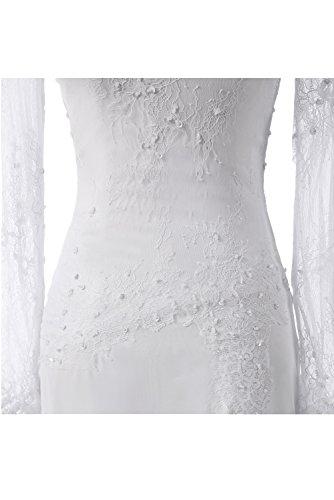 Weiß Lang Spitze Satin Meerjungfrau Ballkleid Schlitz Promkleid Partykleid Missdressy Abendkleid 7wSzv