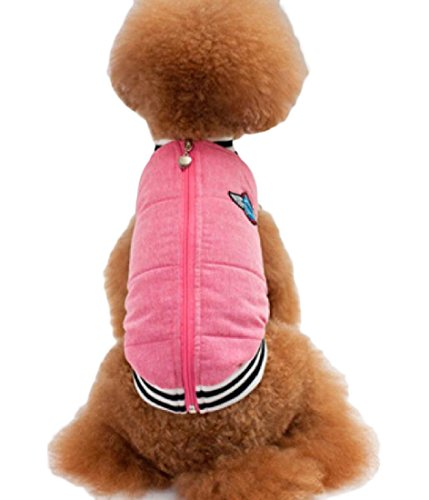 Sheng Xi Dogs Small Dog Zipper Quilted Solid Warming Coat Pet Jacket Pink XL (Quilted Turkey)