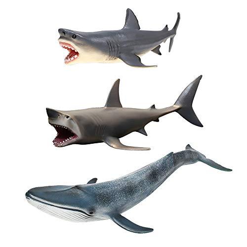 Amakunft 3-Pack Megalodon Shark Aquarium Ornament, Carcharodon Megalodon Fish Tank Decorations, Durable Resin Safe for All Fish & Aquatic Pets The Meg Toys for Children & Home Decorations