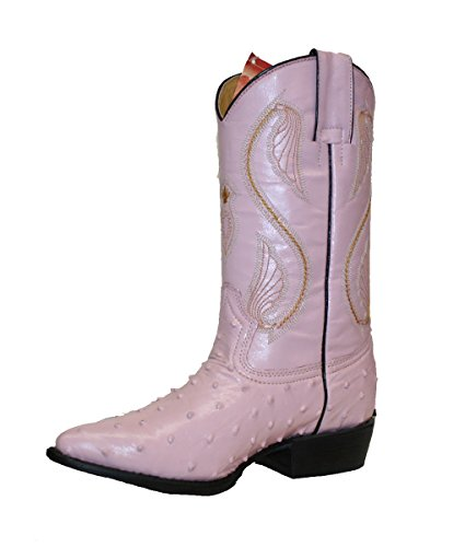 Women's Ostrich Print Genuine Cow Hide Leather Cowgirl