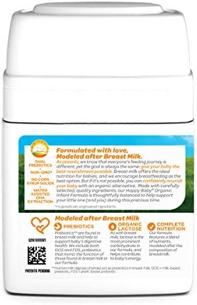 41sfhkSi0YL. AC - Happy Baby Organic Infant Formula Milk Based Powder With Iron Stage 1, 21 Ounce(Packaging May Vary)