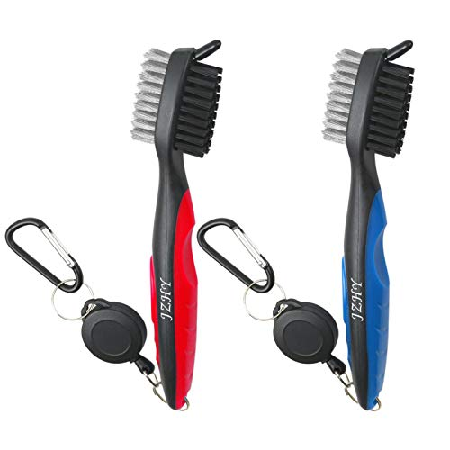JZHY 2 Pack Golf Club Brush Lightweight 2Ft Retractable Golf Brush and Club Groove Cleaner with Zip-line Aluminum Carabiner(Red&Blue)