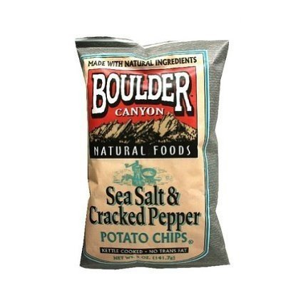 Boulder Canyon Avocado Oil Canyon Cut Kettle Cooked Potato Chips, Sea Salt and Cracked Pepper, 5.25 Ounce (Pack