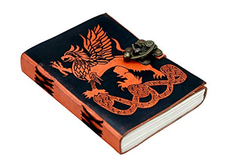 Leather Journal Dragon Handmade Writing Notebook Unlined Paper, Brown Antique Leatherbound Daily Diary Notepad for Men & Women Gift (Green Leather Dragon)