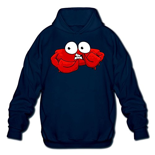 Yahuamaoyi Cartoon Crabs Men's Hooded Sweatshirt Navy XXL - Outlets Hours Washington
