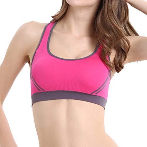 Women's Sports Bra,Cenglings Casual Slim Fit Sports Underwear U Neck Sleeveless Patchwork Shock-Proof Yoga Gathering Tops Red