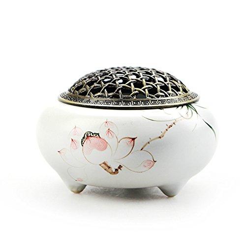 Afzshg Ceramic Kiln Incense Holder Burner Ash Catcher Hand Made,Hand Painted Lotus White -