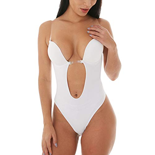 Defitshape Women's Backless Bodysuits U Plunge Seamless Thong Full Bodysuits White 32 fit 32A/32B/32C/34A (Best Shapewear For Wedding Gown)