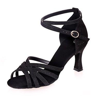 XIAMUO Nicht anpassbar - Die Frauen tanzen Schuhe funkelnden Glitter funkelnden Glitter Latein Sandalen entzündete Ferse Praxis/Innen-/PerformanceBlack/, Blau, US 8 / EU 39/UK6/CN 39