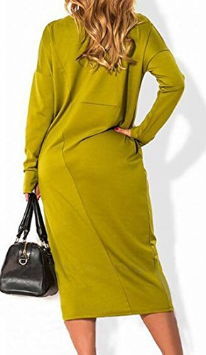 Jaycargogo shirt Casual Women's Tunic Dress Flowy T Simple Green Plain 0601rq