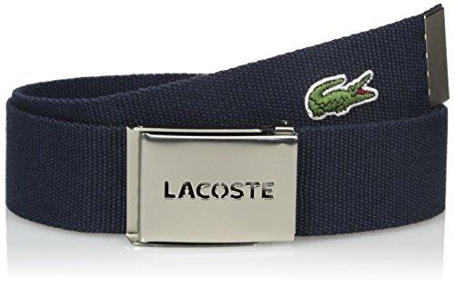 Lacoste Men's Men's Textile Signature Croc Logo Belt, Navy, 95