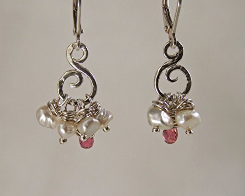 Sterling Silver Drop Earrings with Freshwater Pearls and Tourmaline Briolette