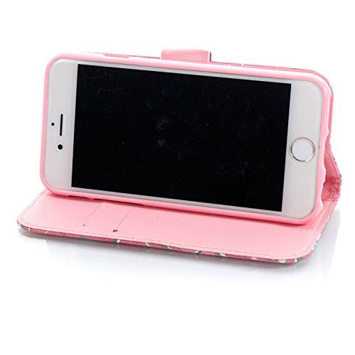 iPhone 6 Plus Hülle Pflaumenbaum Mädchen PU Leder Wallet Handytasche Flip Etui Schutz Tasche mit Integrierten Card Kartensteckplätzen und Ständer Funktion Für Apple iPhone 6 Plus / 6S Plus + Zwei Gesc