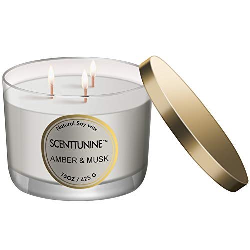 Scenttunine Scented Candle, Pure Natural Organic Soy Wax Candle Jar 40h Burn Time Aromatherapy Fall Candles for Home Scented Essential Christmas Gift Ideas - Amber&Musk 15OZ