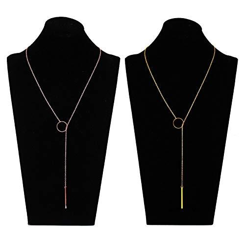Bar Loop (Simple Bar Pendant Long Lariat Y Necklaces Sets - Vertical Bar Open Ring Adjustable Necklaces Minimalist Jewelry 2Pcs)
