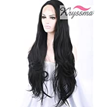 K'ryssma Natrual Looking Beautiful Black Long Wavy Synthetic Lace Front Wigs Half Hand Tied Full Wigs Synthetic Fiber Hair for Women