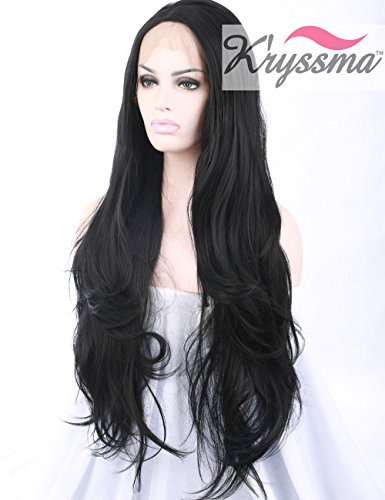 K'ryssma Black Synthetic Lace Front Wigs Long Wavy Synthetic Wigs for Black Women #1b Natural Black Lace Wig Heat Resistant 24 inches (Lace Front Wigs Black)