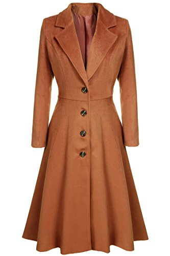 Long Trench Coat Cnlinkco Women Extra Long Single Breasted Pea Coat Overcoat (XL, Dark Brown) - 50s Coat