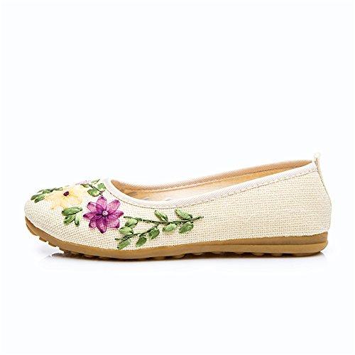 HUAN Femmes Chaussures Lin Oxford Bottom Chaussures Enceintes Femmes Chaussures Danse À La Main Broderie Chaussures Mom Chaussures E O9EMUt